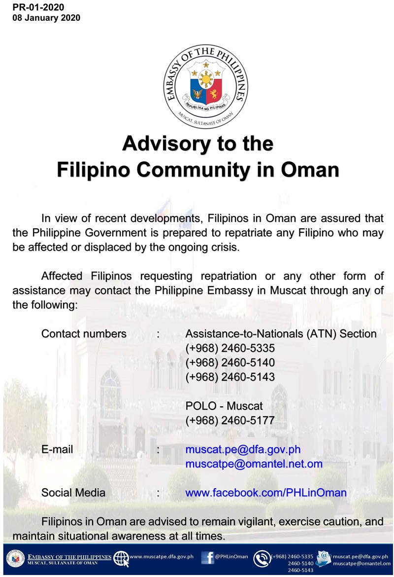 advisory filipinos in oman