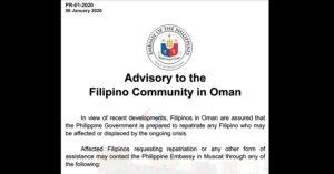 philippine embassy in oman advisory